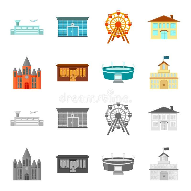 Hus av regeringen, stadion, kafé, kyrka Byggande fastställda samlingssymboler i tecknade filmen, monokromt materiel för stilvekto royaltyfri illustrationer