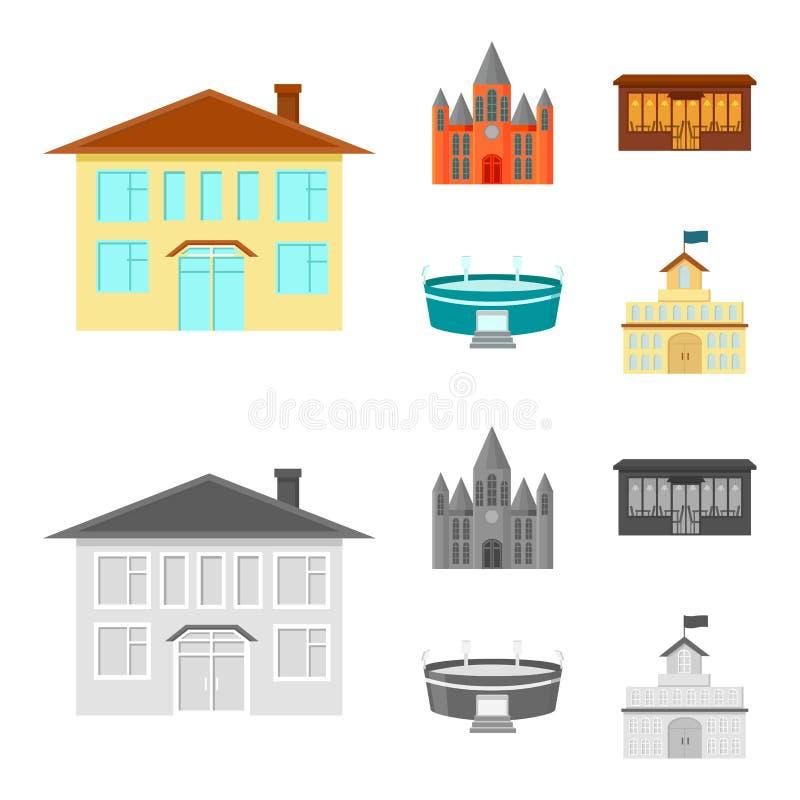 Hus av regeringen, stadion, kafé, kyrka Byggande fastställda samlingssymboler i tecknade filmen, monokromt materiel för stilvekto vektor illustrationer