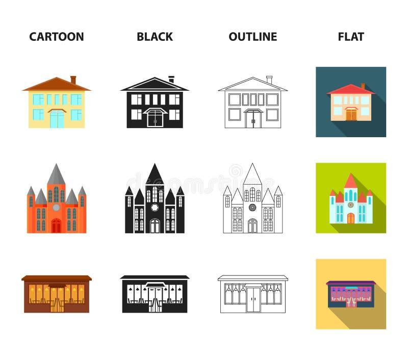 Hus av regeringen, stadion, kafé, kyrka Byggande fastställda samlingssymboler i tecknade filmen, svart, översikt, lägenhetstilvek stock illustrationer