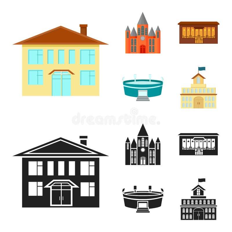 Hus av regeringen, stadion, kafé, kyrka Byggande fastställda samlingssymboler i tecknade filmen, svart materiel för stilvektorsym vektor illustrationer