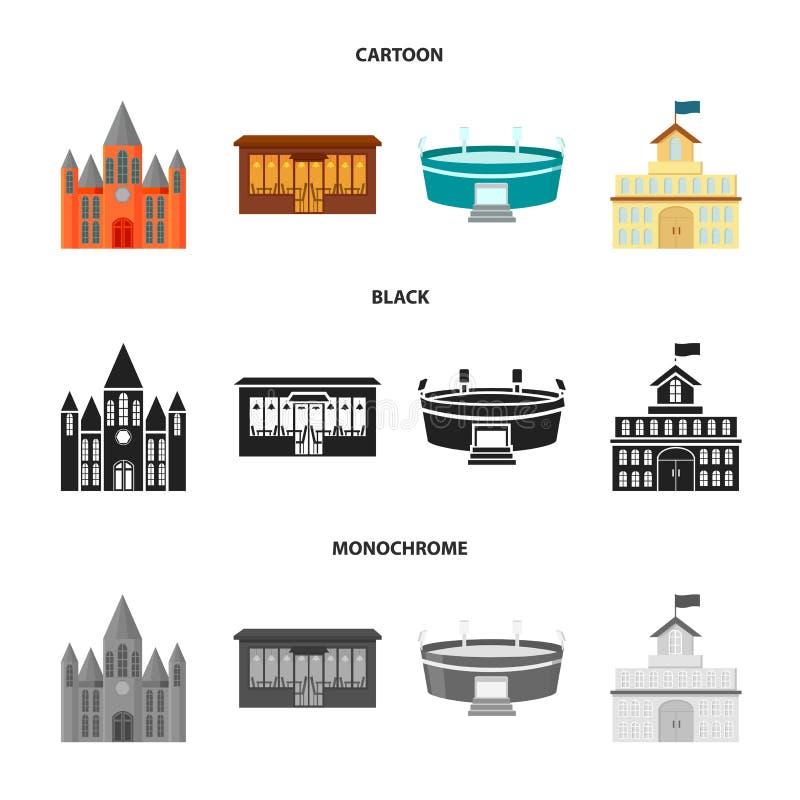 Hus av regeringen, stadion, kafé, kyrka Byggande fastställda samlingssymboler i tecknade filmen, svart, monokromt stilvektorsymbo royaltyfri illustrationer