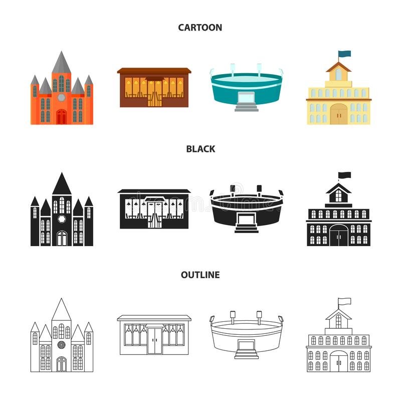 Hus av regeringen, stadion, kafé, kyrka Byggande fastställda samlingssymboler i tecknade filmen, svart, symbol för översiktsstilv stock illustrationer