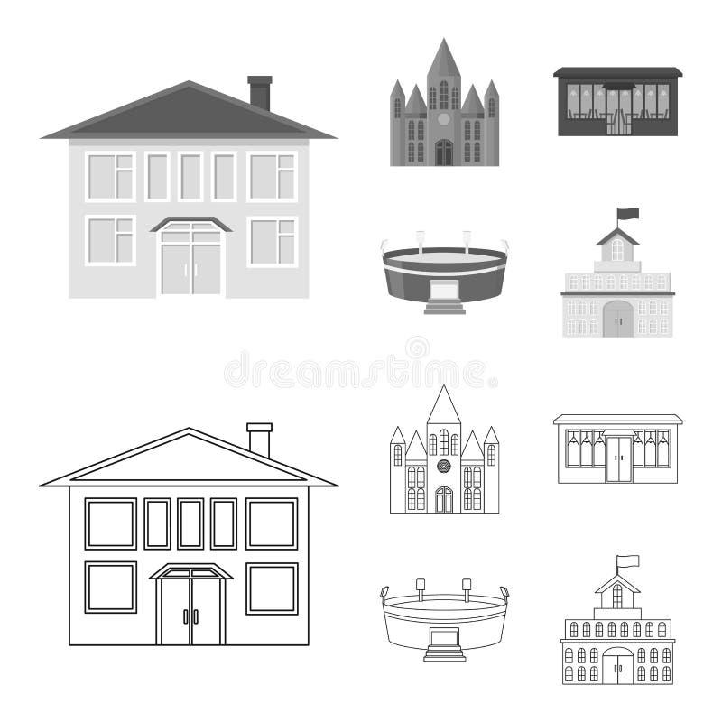 Hus av regeringen, stadion, kafé, kyrka E stock illustrationer