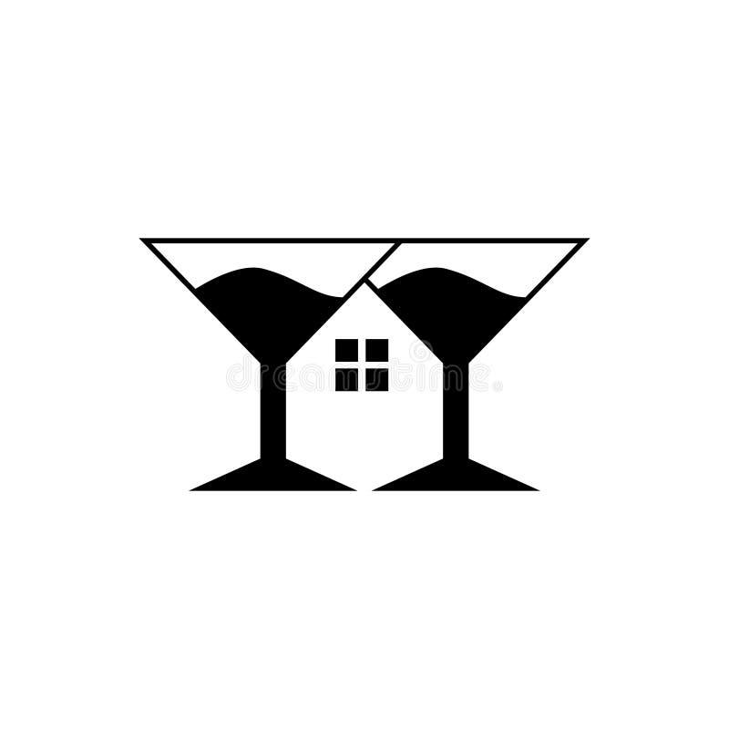Hus av symbolet för segerlogoföretag med glass vin som hem vektor illustrationer