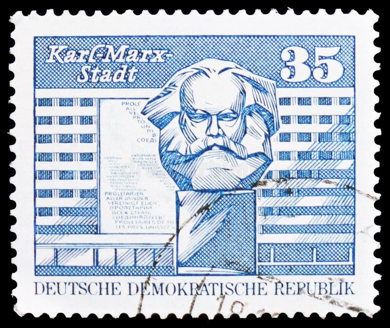 Hus av tillståndsorganen, Karl-Marx-Stadt, konstruktion i GDREN, serie, circa 1989 arkivfoto