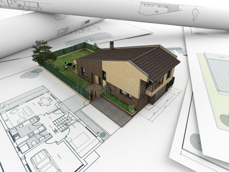 hus för 2 arkitektoniskt teckningar stock illustrationer