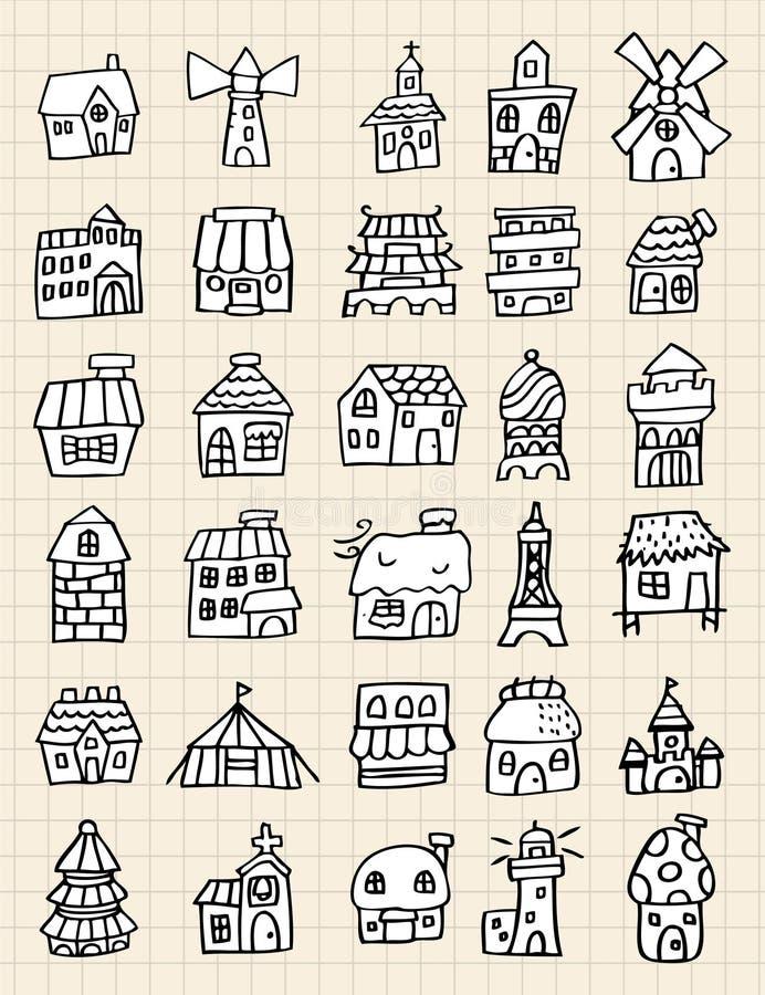 hus för drawelementhand royaltyfri illustrationer