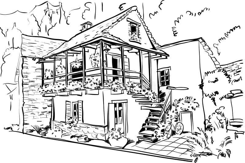 Hus för europeiskt land stock illustrationer