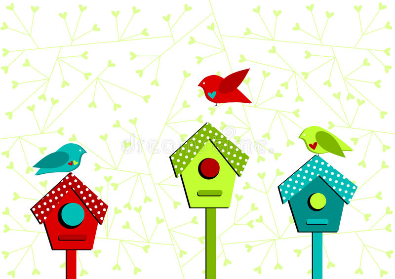 hus för fågelfågelkort älskar valentiner stock illustrationer