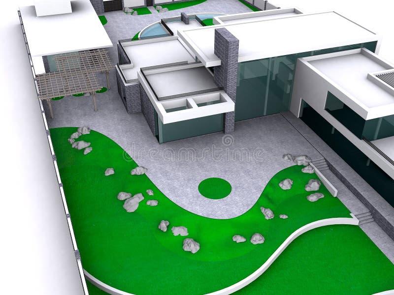 Hus för illustration för sikt för öga för fågel` s och utomhus- bosatt område, 3D I royaltyfri illustrationer