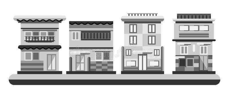 Hus för japansk stil Stadsbyggnader i gråtonfärg Plan illustration stock illustrationer