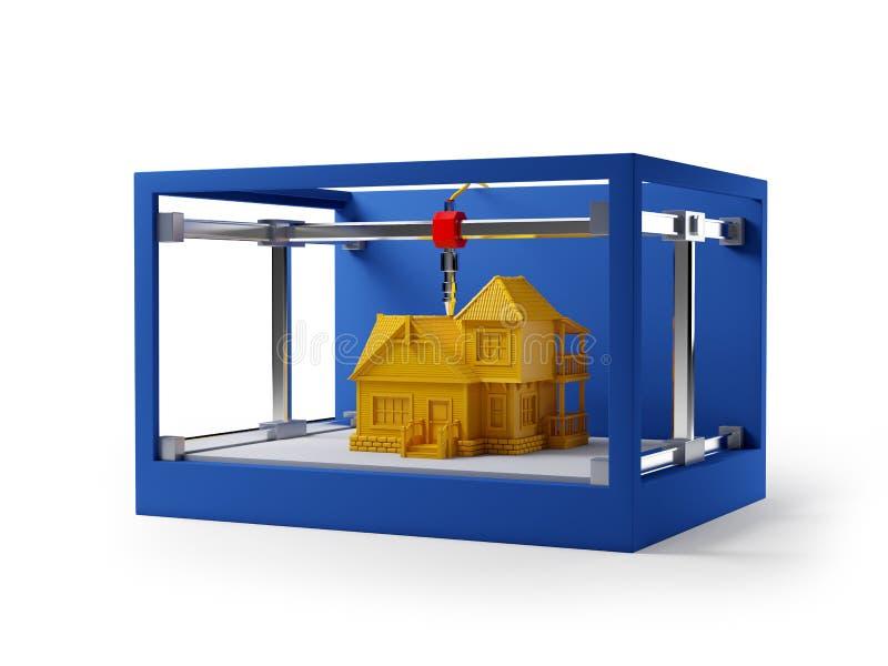 hus för printing 3d stock illustrationer