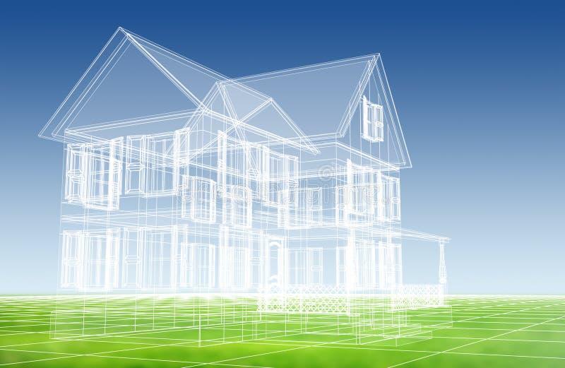 hus för ritning 3d stock illustrationer