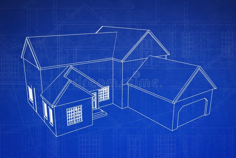 hus för ritning 3d royaltyfri illustrationer