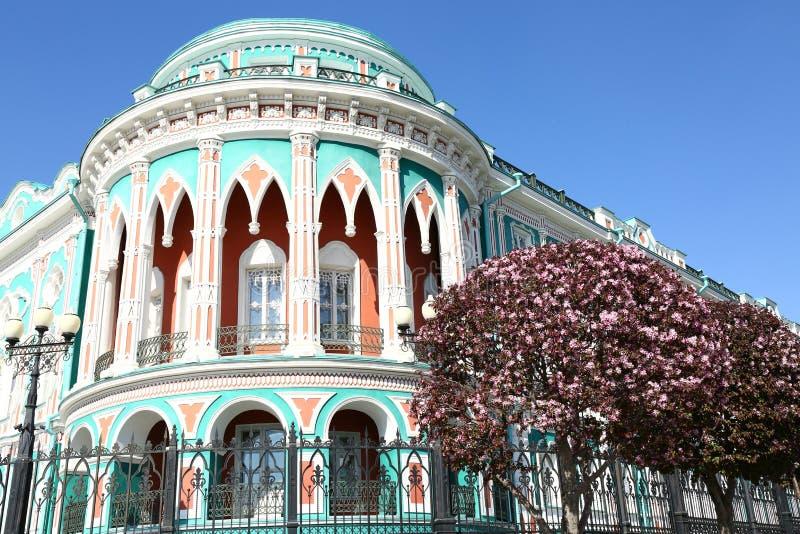 Hus för Sevastyanov ` s, Ekaterinburg, Ryssland royaltyfri foto