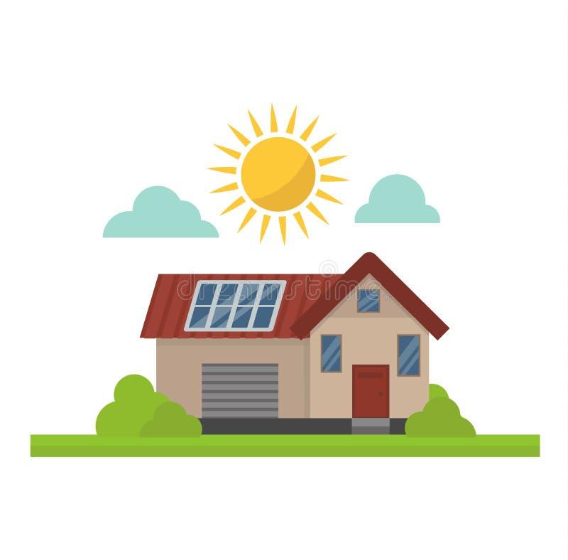 Hus för vektor för sol- energi för sol stock illustrationer