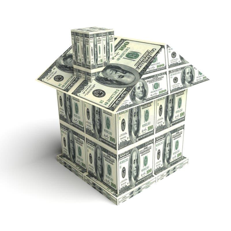 Hus från pengarna guld för begreppskonstruktionsfingrar houses tangenter royaltyfri illustrationer