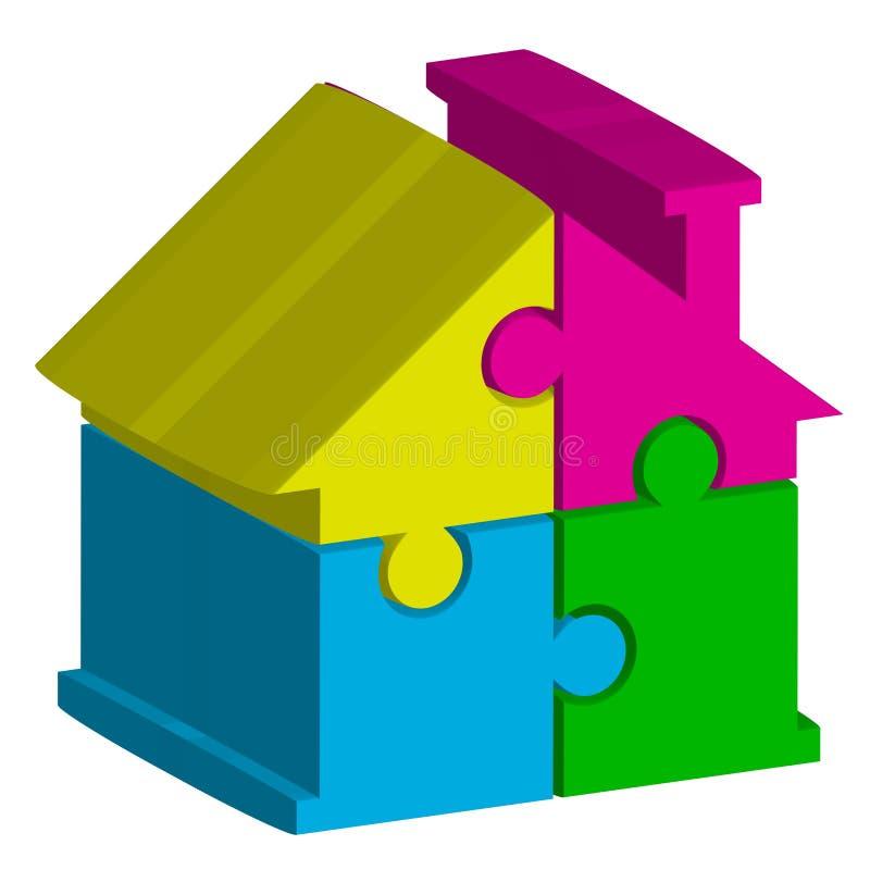 Hus från pussel stock illustrationer