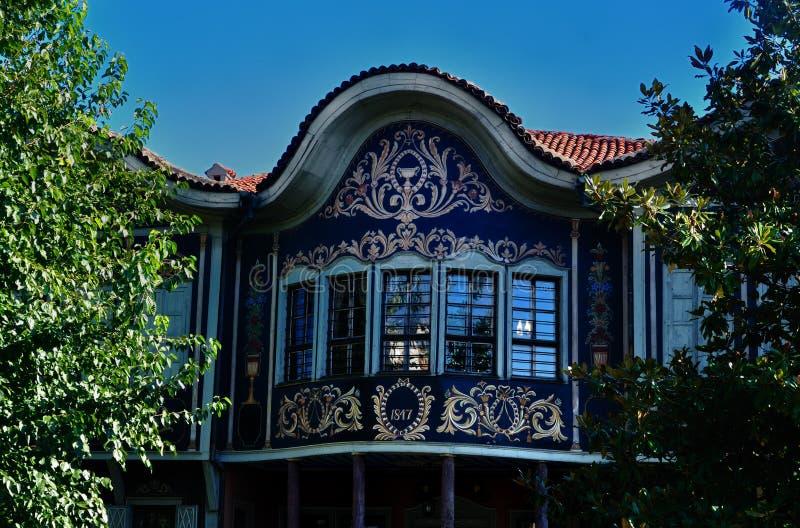 hus gammala plovdiv royaltyfria foton