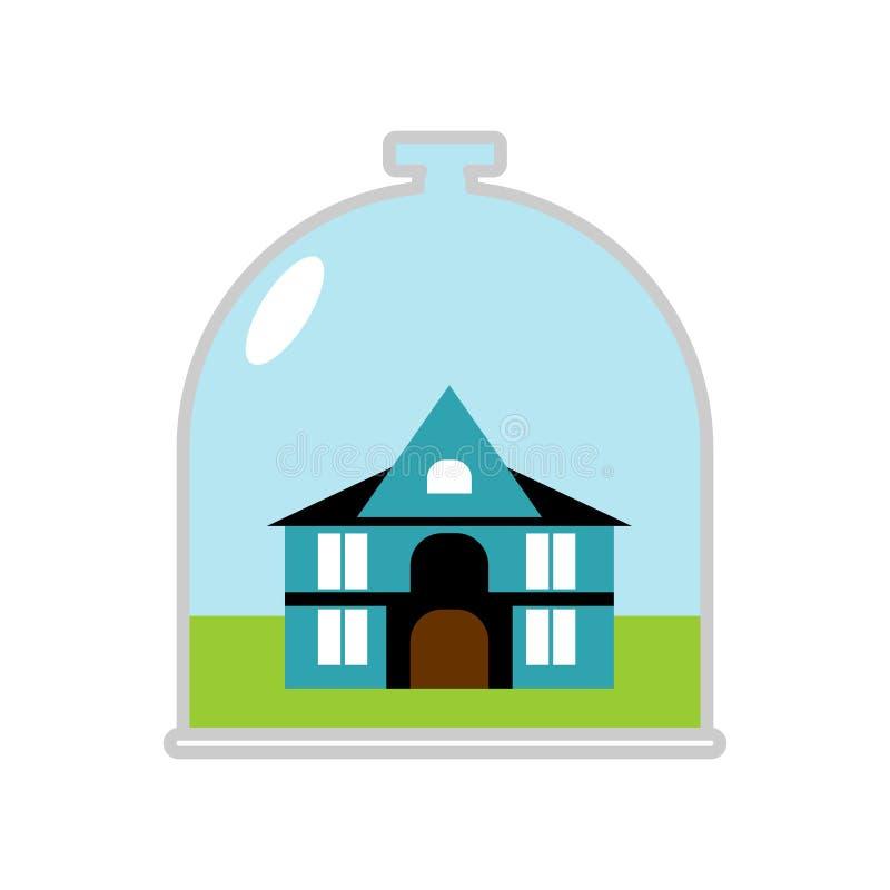 Hus Glass Klocka Skyddande markis över byggnad Besparing på hom royaltyfri illustrationer