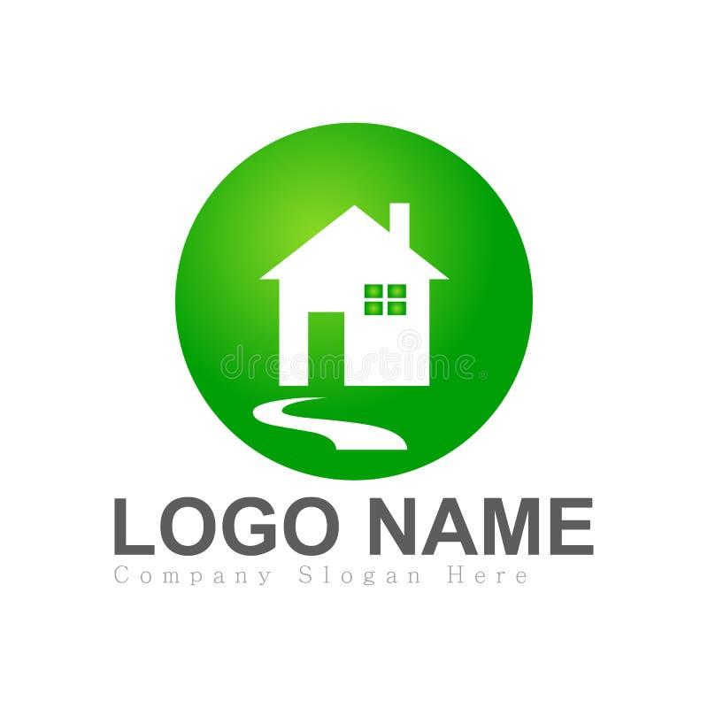 Hus hem, fastighet, logo, blå symbol för byggnad för arkitektursymbollöneförhöjning för ditt företag royaltyfri illustrationer