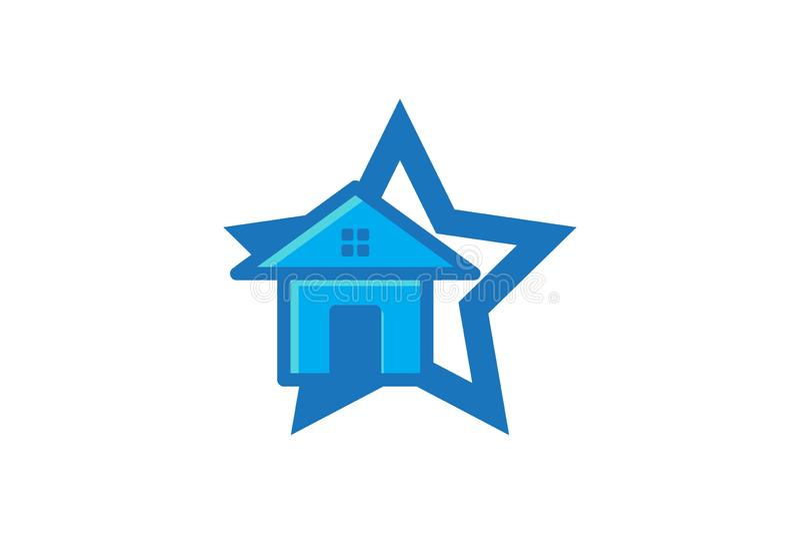 Hus hem- stjärna Logo Designs Inspiration Isolated på vit bakgrund stock illustrationer