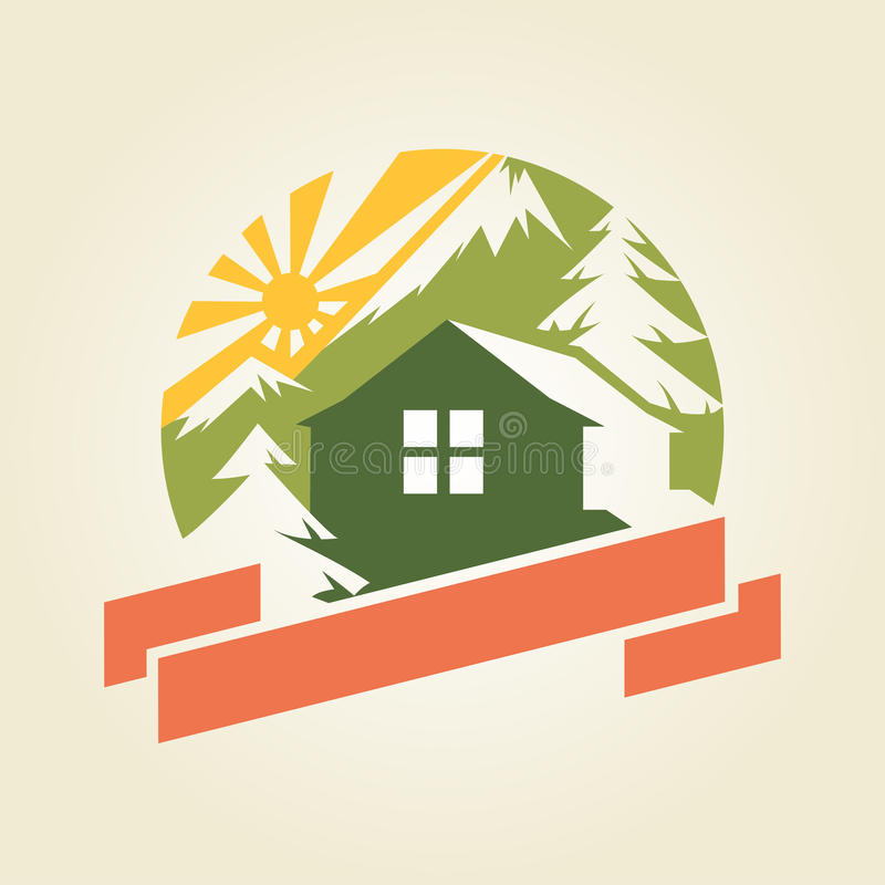 Hus i berg royaltyfri illustrationer