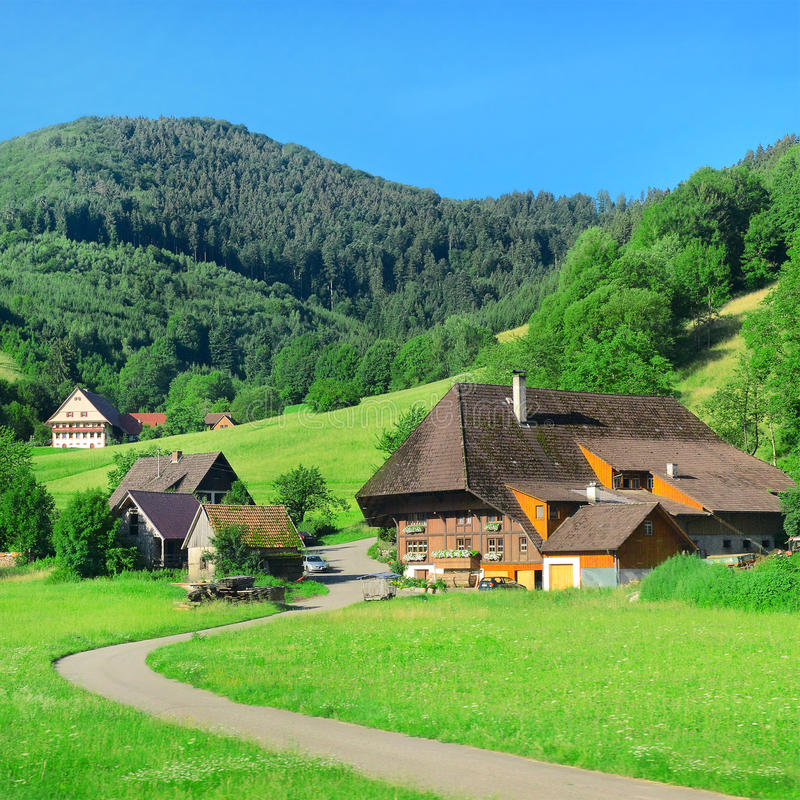 Hus i bergen royaltyfria bilder