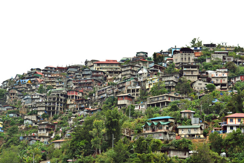 Hus i bergen: Baguio stad, Filippinerna arkivbilder