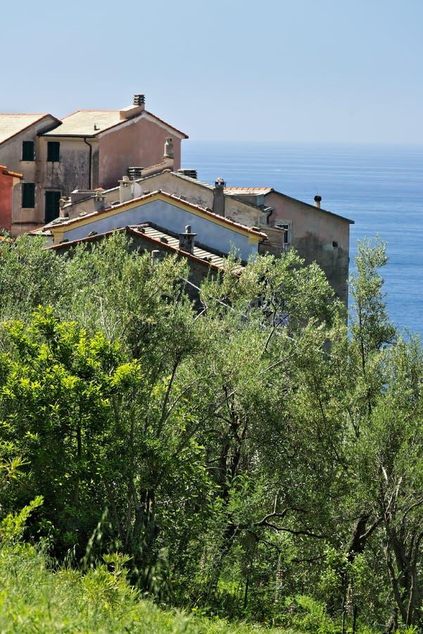 Hus i byn av Framura, nära Cinque Terre arkivfoton
