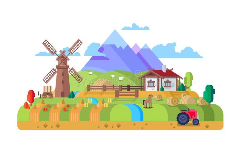Hus i byn, lantgård stock illustrationer