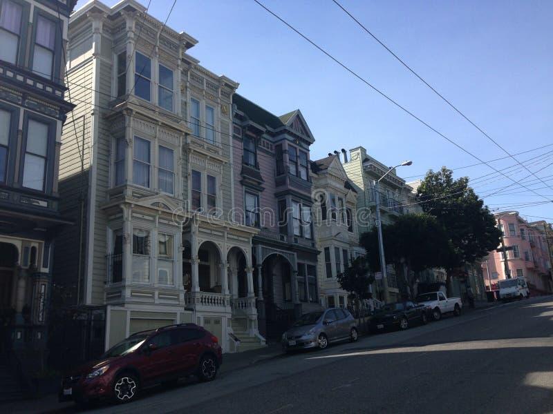 Hus i den Hayes gatan, San Francisco arkivbild