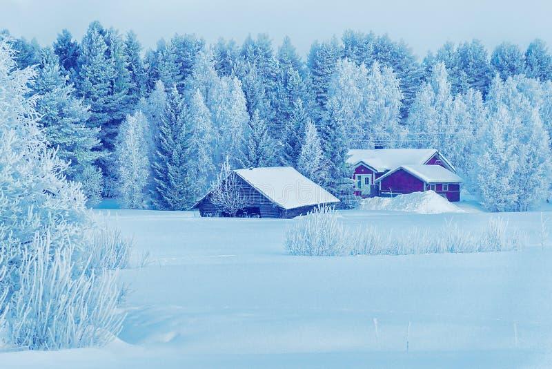 Hus i dold vinterskog för snö på jul Finland, Lapland royaltyfri bild