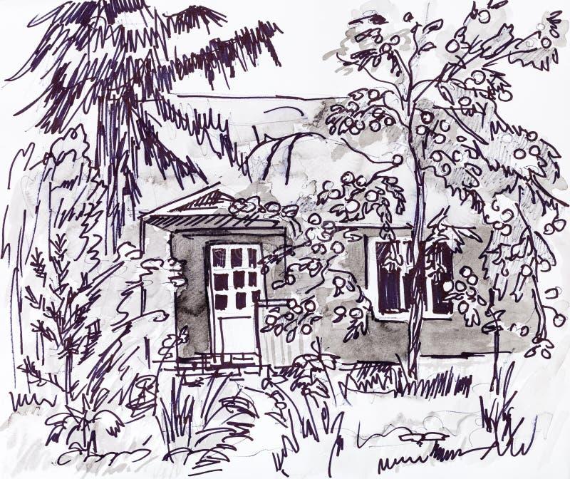 Hus i höst royaltyfri illustrationer
