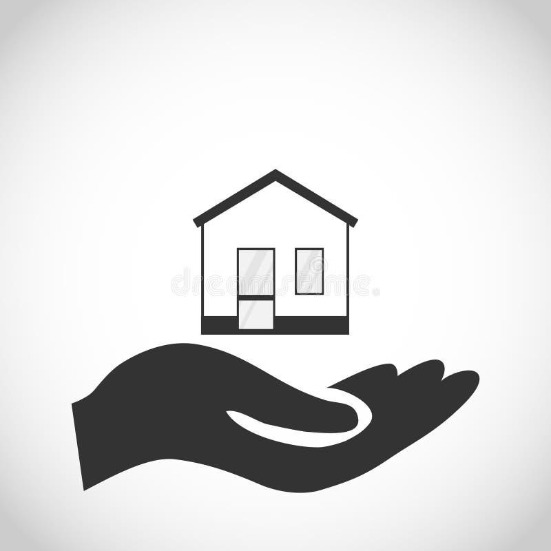 Hus i handen av mannen royaltyfri illustrationer