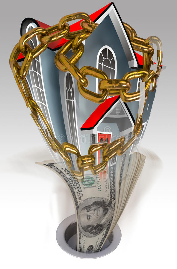 Hus i kedjor och pengardowndrain arkivfoto