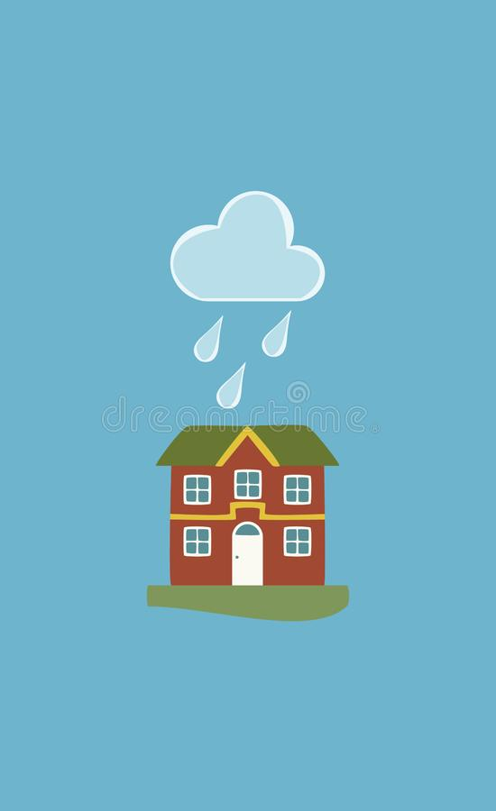 Hus i regnigt väder, vektorbakgrund royaltyfri illustrationer