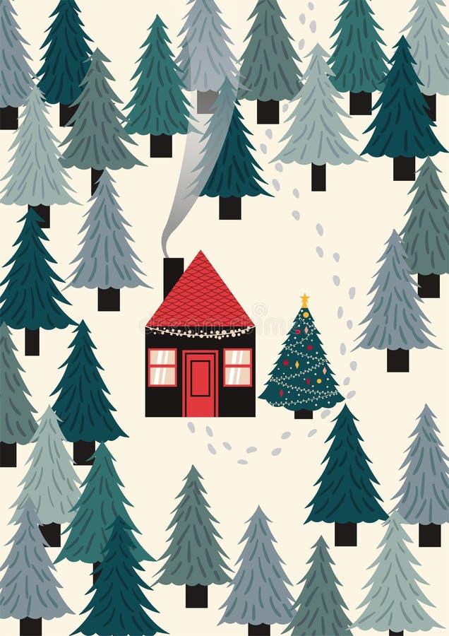 Hus i skogar Hus med rött tak omgivet av träd och det dekorerade trädet bredvid det God jul royaltyfri illustrationer