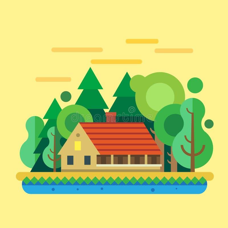 Hus i skogen, sommarlandskap royaltyfri illustrationer