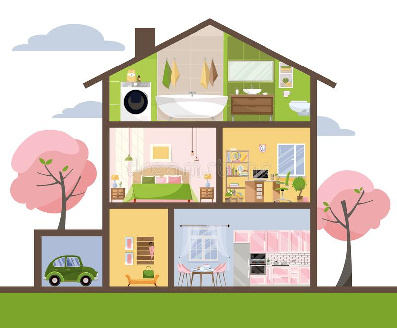 Hus i snitt Detaljerad inre Upps?ttning av rum med m?blemang Tv?rsnitt med sovrummet, vardagsrum, k?k som ?ter middag, badrum, vektor illustrationer