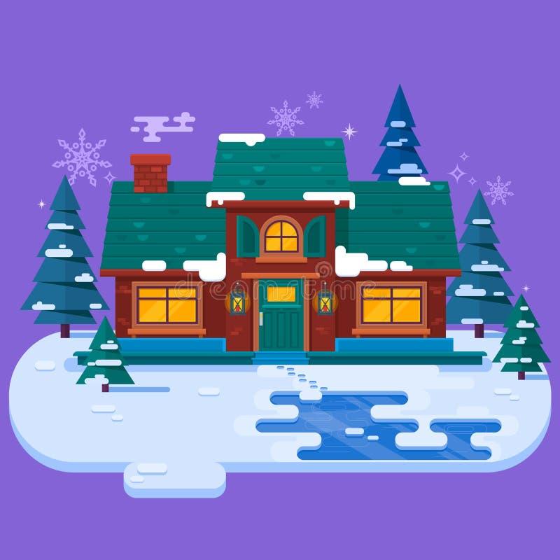 Hus i vinteraftonen, julkort, plan vektorillustration snowing vinter för bakgrund vektor illustrationer
