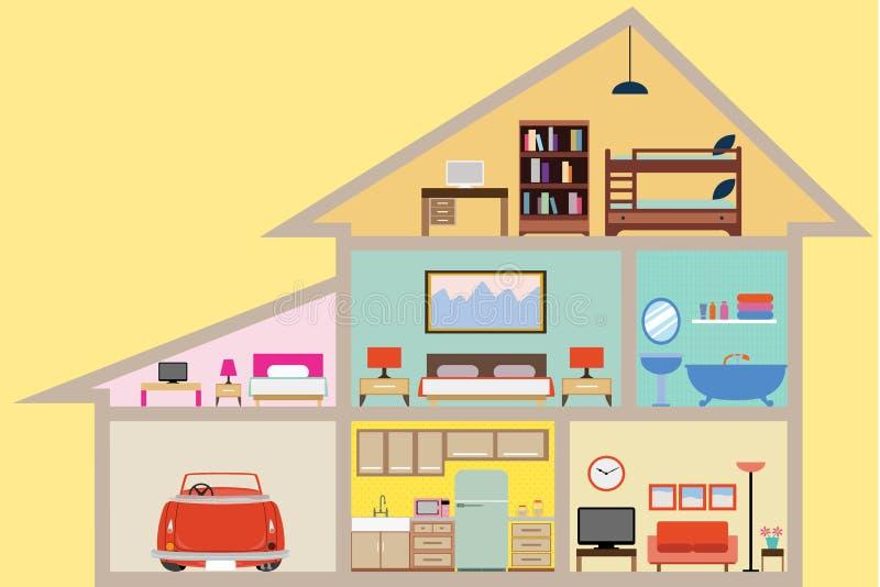 Hus inom med rum royaltyfri illustrationer