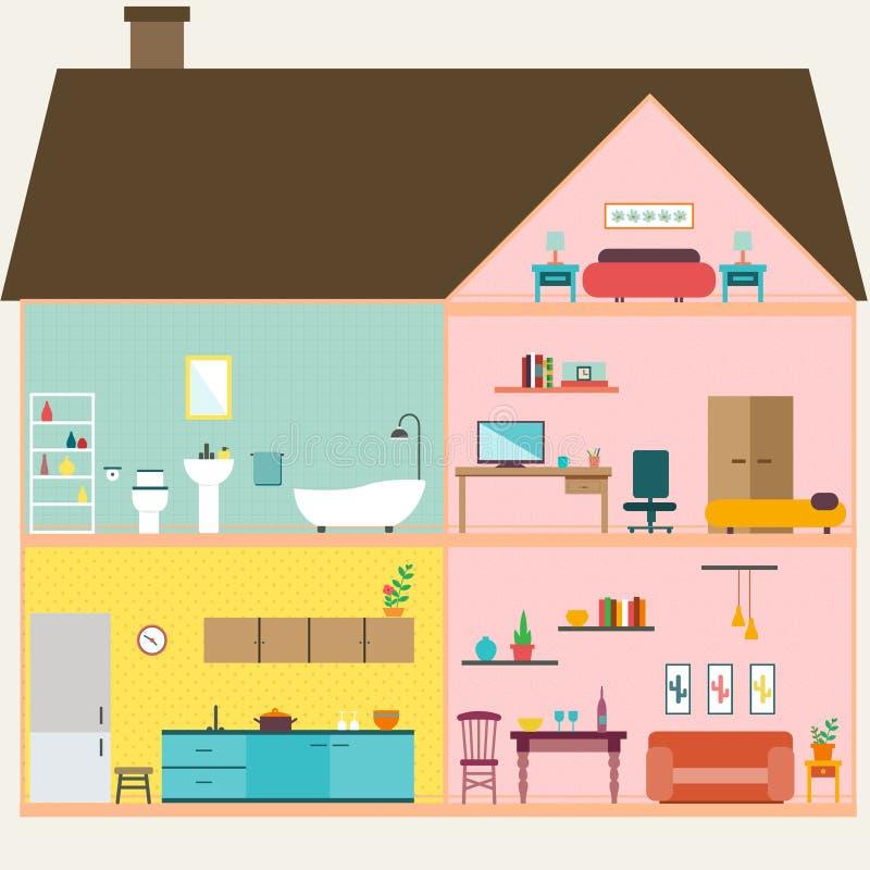 Hus inom med rumvektorn royaltyfri illustrationer