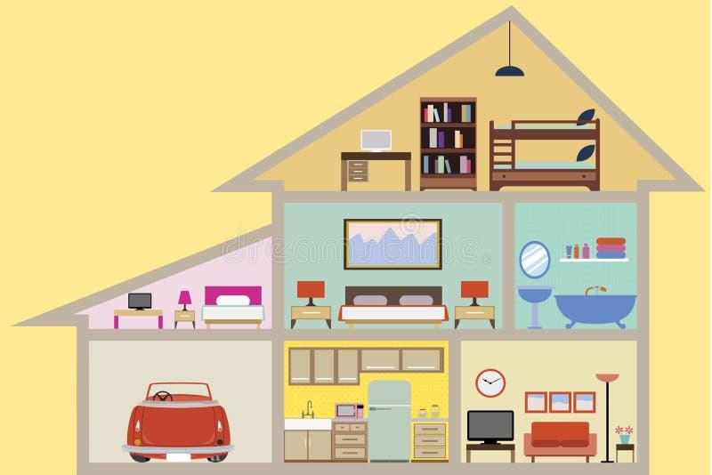 Hus inom med rumvektorn stock illustrationer