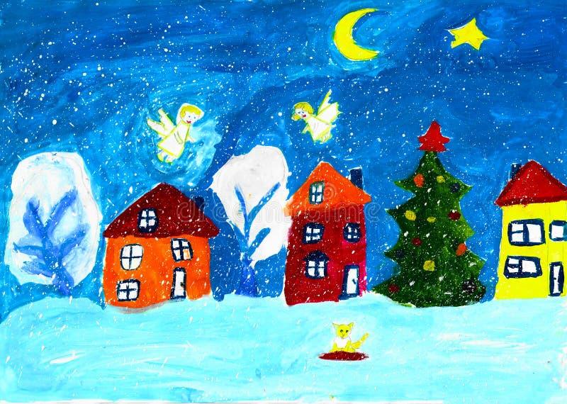 Hus, julträd och änglar, barnteckning arkivbilder