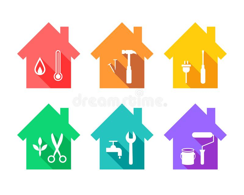 Hus med arbetshjälpmedel som reparationsbegrepp royaltyfri illustrationer