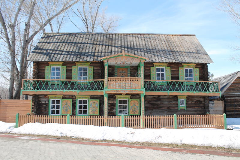 Hus med balkongen royaltyfria bilder