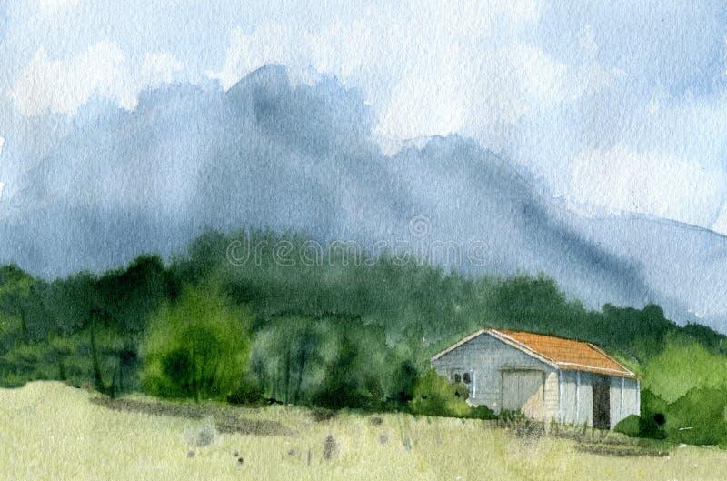 Hus med berg och moln stock illustrationer