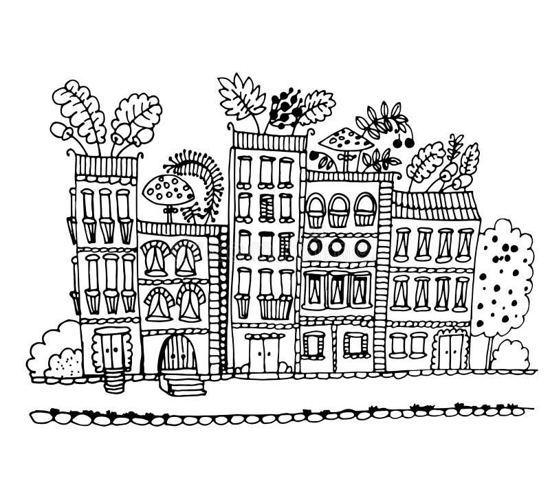 Hus med champinjoner och sidor på takdiagrammet royaltyfri illustrationer