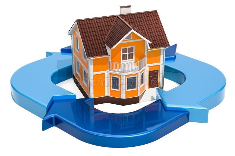 Hus med cirkeldiagrammet från blåa pilar, tolkning 3D stock illustrationer